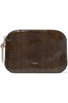 NINA RICCI Elide snake-effect leather pouch