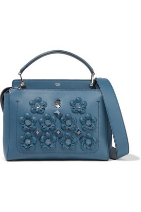 FENDI Floral-appliquéd studded  leather shoulder bag