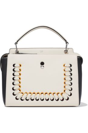 FENDI DotCom lace-up two-tone leather shoulder bag