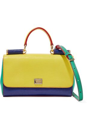 DOLCE & GABBANA Sicily color-block lizard-effect leather shoulder bag