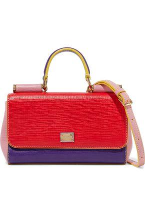 DOLCE & GABBANA Sicily color-block lizard-effect leather shoulder bag