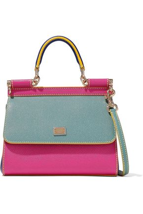 DOLCE & GABBANA Sicily color-block textured-leather shoulder bag