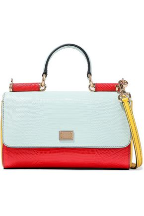 DOLCE & GABBANA Miss Sicily color-block snake-effect leather shoulder bag
