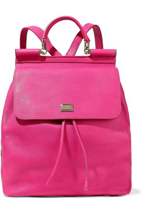 WOMAN SICILY TEXTURED-LEATHER BACKPACK FUCHSIA