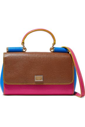 DOLCE & GABBANA Miss Sicily color-block textured-leather shoulder bag