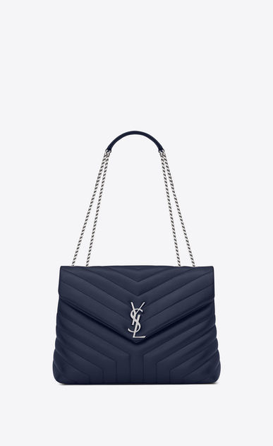 "SAINT LAURENT Monogramme Loulou Woman medium loulou bag in navy blue ""y"" matelassé leather a_V4"