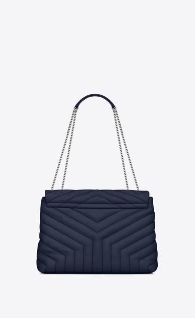 "SAINT LAURENT Monogramme Loulou Woman medium loulou bag in navy blue ""y"" matelassé leather b_V4"