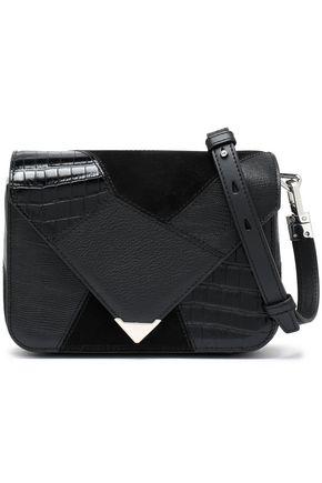 ALEXANDER WANG Patchwork suede, croc-effect and textured-leather shoulder bag