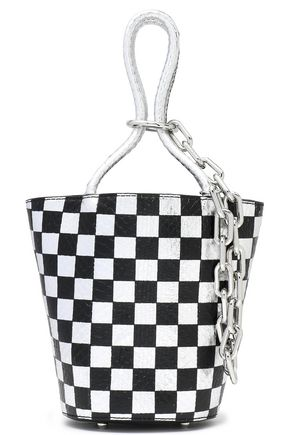 T by ALEXANDER WANG Checked snake-effect leather bucket bag