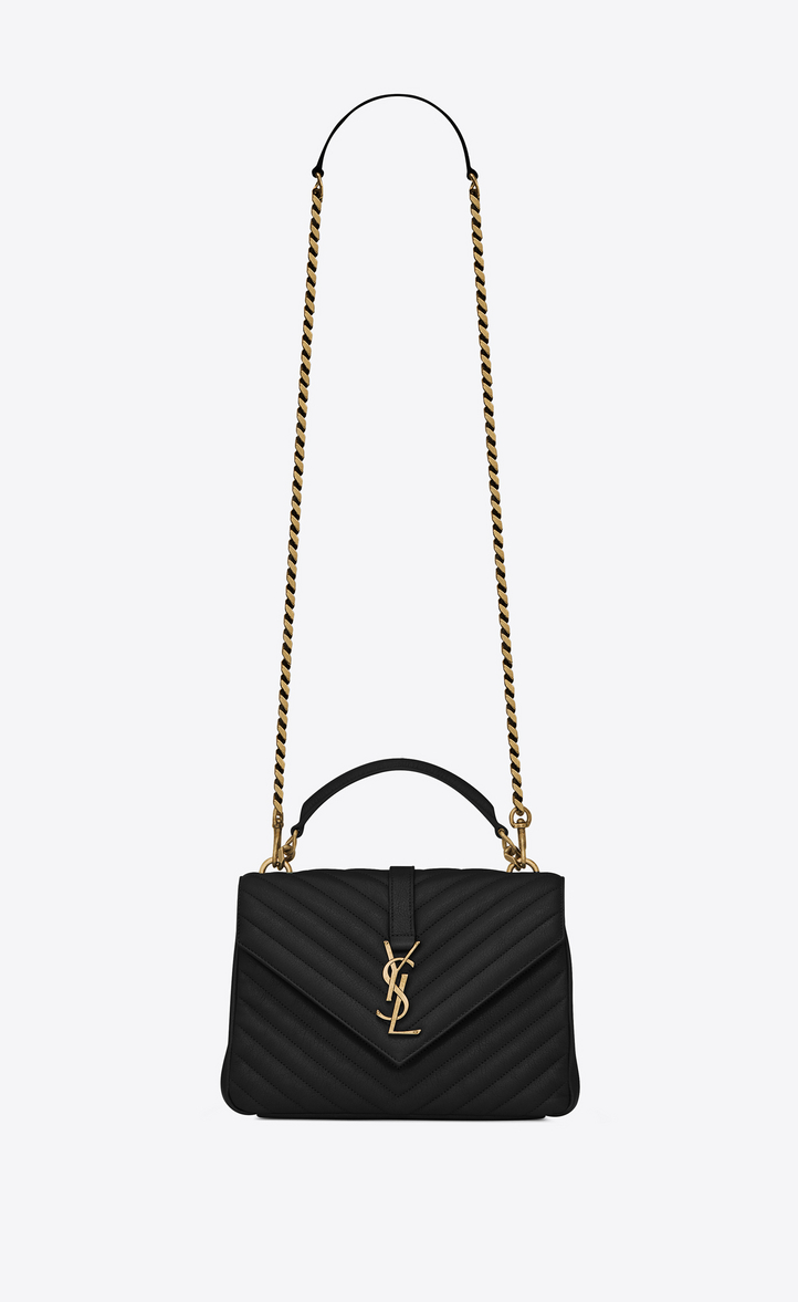 medium collège bag in black matelassé leather and vintage gold-toned  hardware 828e04e300d7c