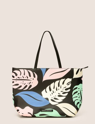 MEDIUM LEAF MOTIF ZIPPERED TOTE