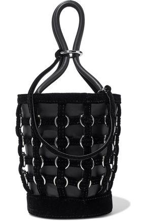 ALEXANDER WANG Roxy ring-embellished velvet-trimmed leather bucket bag