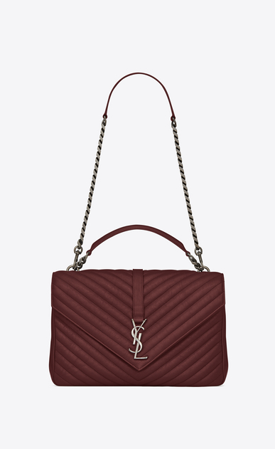 SAINT LAURENT Monogram College Woman large collège bag in dark red matelassé leather a_V4