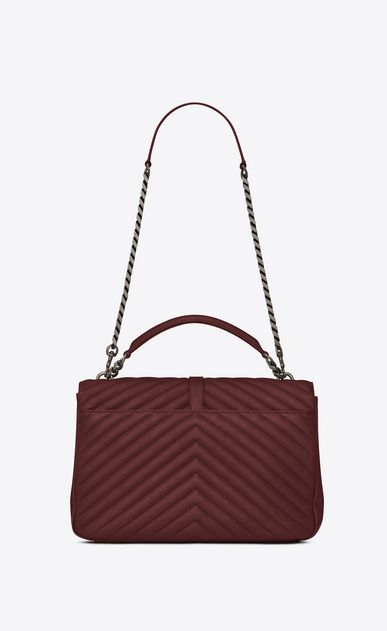 SAINT LAURENT Monogram College Woman large collège bag in dark red matelassé leather b_V4