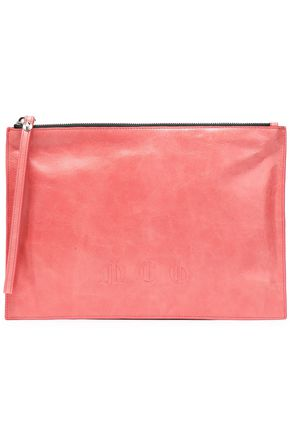 McQ Alexander McQueen McQ Script embossed cracked-leather clutch