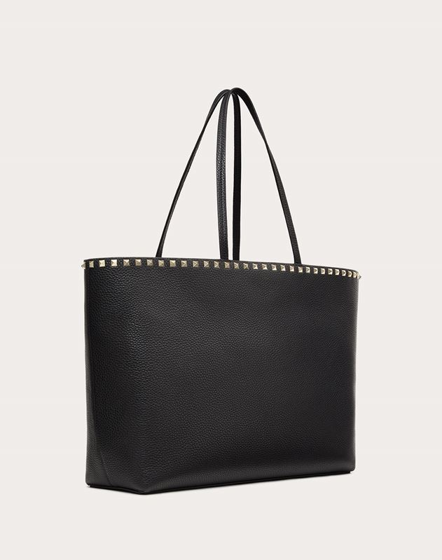 Large grain calfskin leather Rockstud shopping bag