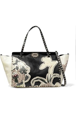 VALENTINO GARAVANI Rockstud appliquéd floral-print two-tone leather tote