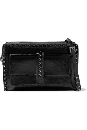 VALENTINO Studded smooth and crinkled-leather shoulder bag