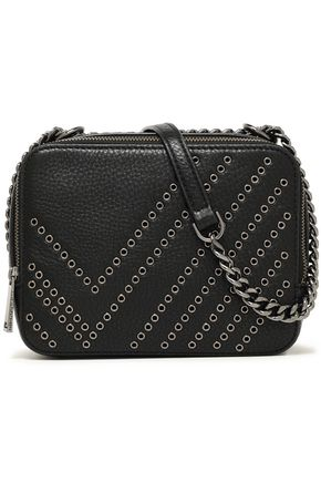 DIANE VON FURSTENBERG Gemini eyelet-embellished pebbled-leather shoulder bag