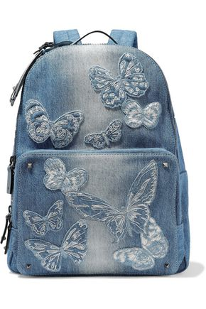 VALENTINO GARAVANI Studded appliquéd leather-trimmed denim backpack