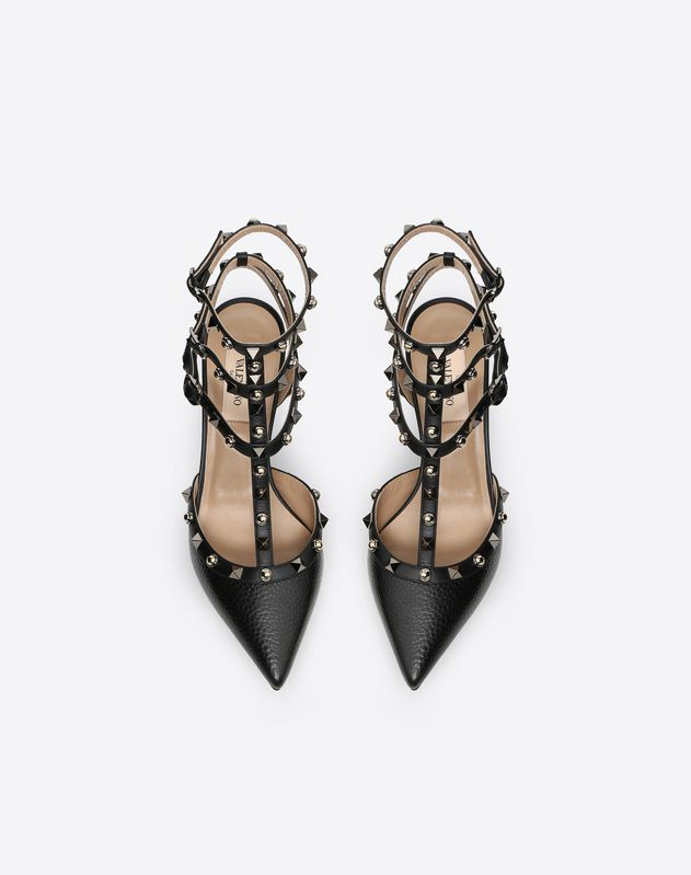Grain calfskin leather Rockstud Rolling Noir caged Pump 65mm
