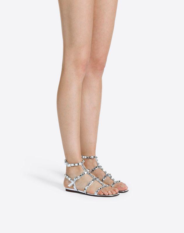 Metallic Cage Rockstud Flat Sandal