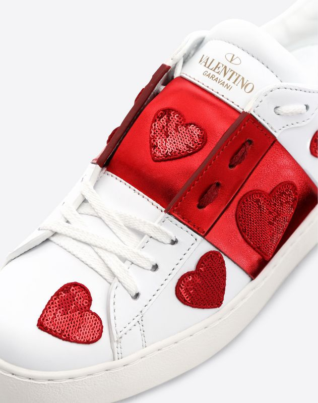 Sequin Heart Motif Open Sneaker