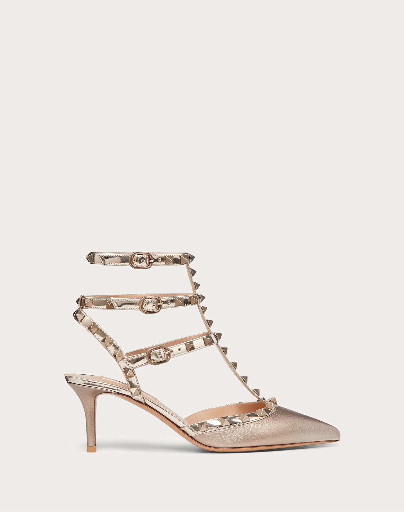 Rockstud Metallic Grainy Calfskin Leather Ankle Strap Pump 66 mm