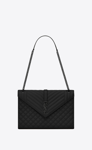 SAINT LAURENT Monogram envelope Bag Donna large satchel nera in pelle matelassé martellata a_V4