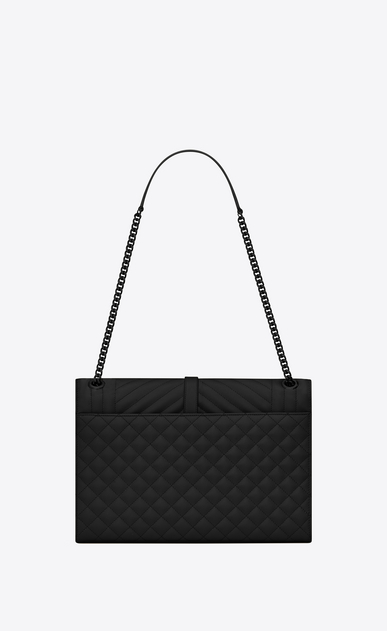SAINT LAURENT Monogram envelope Bag Donna large satchel nera in pelle matelassé martellata b_V4