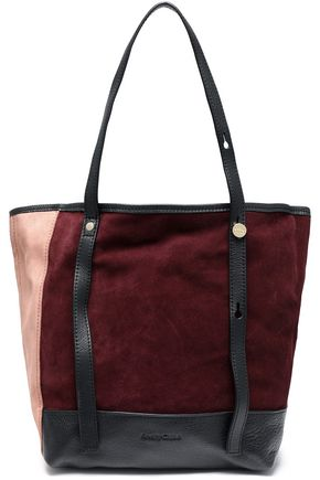 SEE BY CHLOÉ Andy leather-trimmed color-block suede tote