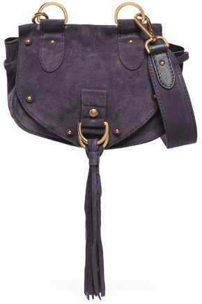 SEE BY CHLOÉ Collins studded suede and pebbled-leather shoulder bag