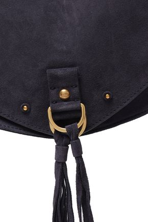 SEE BY CHLOÉ Tasseled textured leather-paneled suede shoulder bag