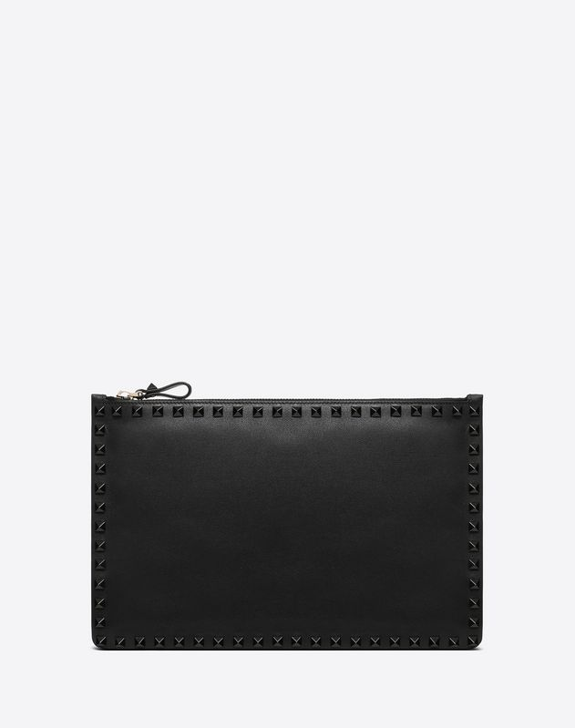 Lacquer Rockstud Flat Pouch