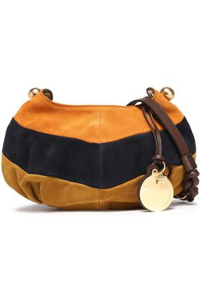 SEE BY CHLOÉ Leather-trimmed color-block suede shoulder bag
