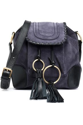 SEE BY CHLOÉ Polly taseled leather-trimmed suede shoulder bag