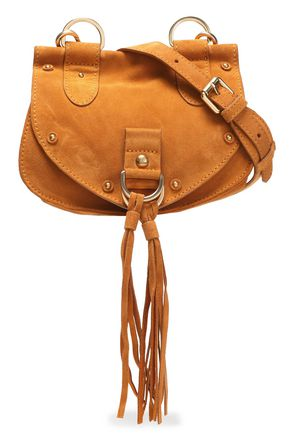 SEE BY CHLOÉ Collins leather-paneled tasseled suede shoulder bag
