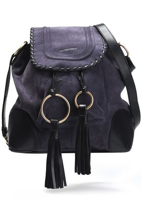 SEE BY CHLOÉ Polly leather-trimmed tasseled suede shoulder bag