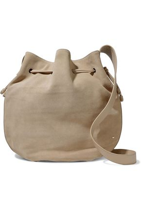HALSTON HERITAGE Leather-trimmed suede bucket bag