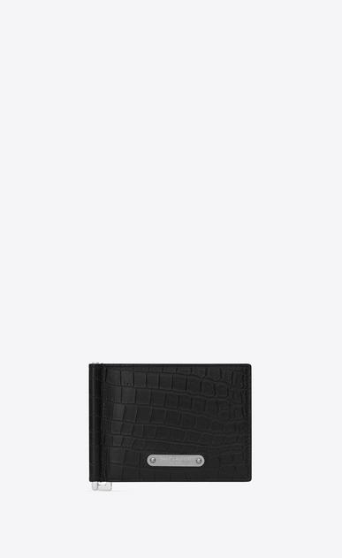 SAINT LAURENT ID SLG Uomo portafogli id con portasoldi nero in coccodrillo stampato a_V4