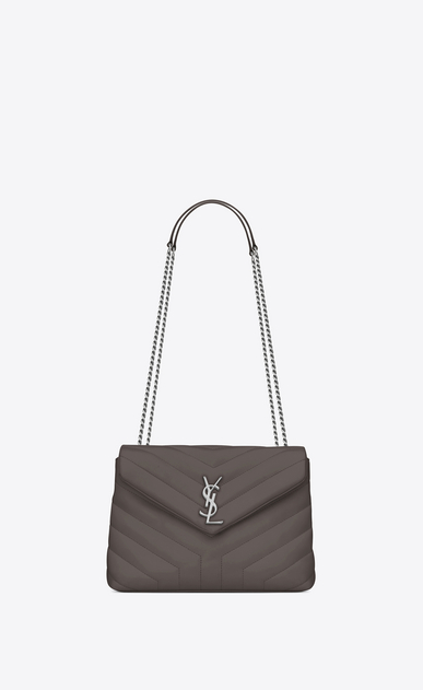 "SAINT LAURENT Monogramme Loulou Woman small loulou bag in grey ""y"" matelassé leather a_V4"