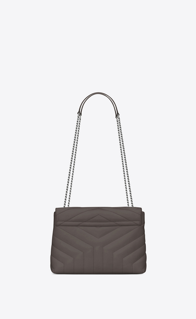 "SAINT LAURENT Monogramme Loulou Woman small loulou bag in grey ""y"" matelassé leather b_V4"