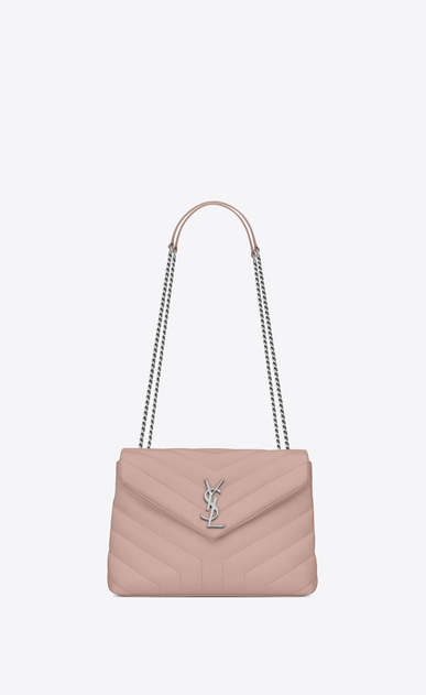 "SAINT LAURENT Monogramme Loulou Woman small loulou bag in pale blush ""y"" matelassé leather a_V4"