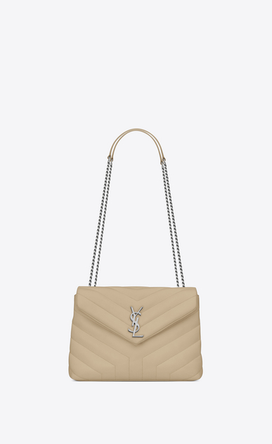 "SAINT LAURENT Monogramme Loulou Woman small loulou bag in powder ""y"" matelassé leather a_V4"