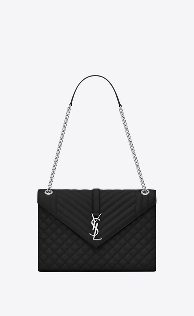 SAINT LAURENT Monogram envelope Bag Woman large envelope bag in mixed textured leather in black a_V4