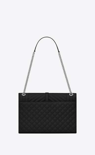 SAINT LAURENT Monogram envelope Bag Woman large envelope bag in mixed textured leather in black b_V4