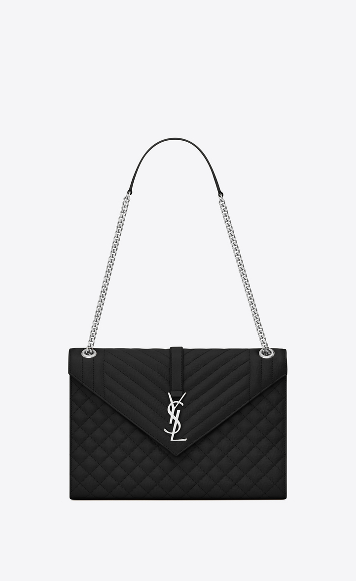 SAINT LAURENT LARGE ENVELOPE BAG IN MIXED TEXTURED LEATHER IN BLACK