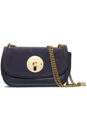 SEE BY CHLOÉ Chain-trimmed suede and leather shoulder bag