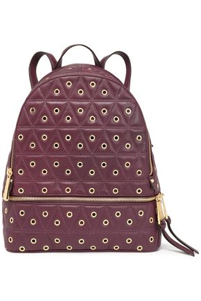MICHAEL MICHAEL KORS Eyelet-embellished quilted leather backpack