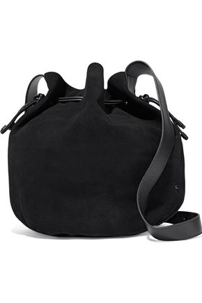 HALSTON HERITAGE Pebbled leather-trimmed suede bucket bag